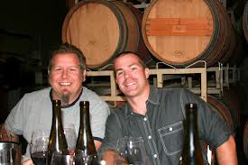 brennon and peter at efeste winemaker barrel cellar winery